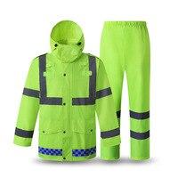 Reflexivo capa de chuva construção segurança fluorescente jaqueta à prova dfluorescent água saneamento segurança patrulha esporte ao ar livre da motocicleta peixe
