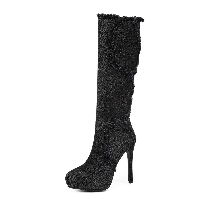 Negro Zapatos Cómodo Señoras 2018 Mujer Nueva Sklfcxzy Llegada Otoño Cremallera Botas Jeans azul Moda Tacones Altos Rodilla pZIq6vIw