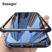 ФОТО essager ultra magnetic case for iphone x 10 cover metal bumper tempered glass fitted case for iphonex flip case back cover funda