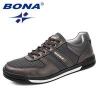 BONA Yeni Tipik Tarzı Erkekler Rahat Erkekler Ayakkabı Dantel loafer'lar Açık Eğlence Ayakkabı Rahat Erkekler flats Yumuşak Hızlı Ücretsiz nakliye