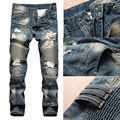 Straight Denim Jeans Trousers Slim Ripped Jean Skinny Biker Pants UK STOCK