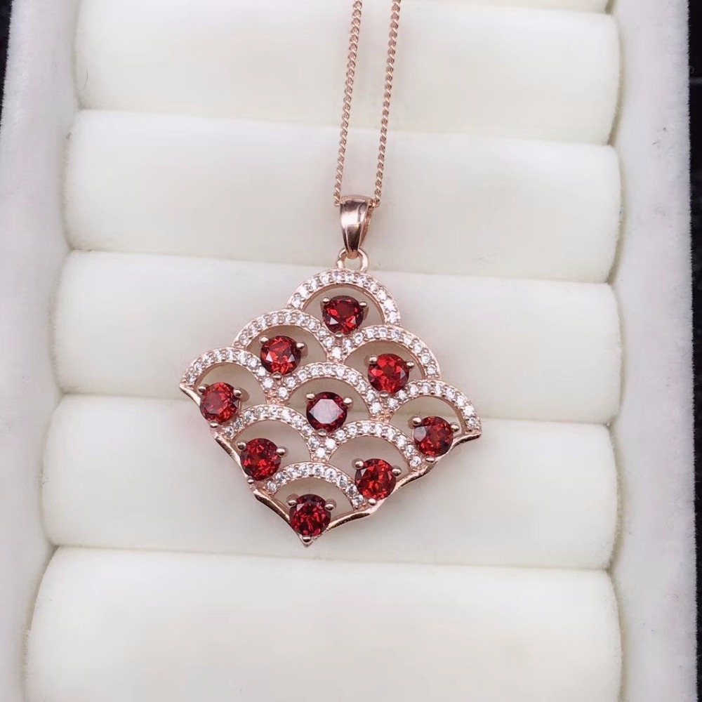 Luxurious Red Garnet Tree Necklace for Women, Rose Gold, Silver 925 Jewelry, 3*3mm*9pcs Gemstone, Velvet Box Certificate FN212-in Necklaces from Jewelry & Accessories    1