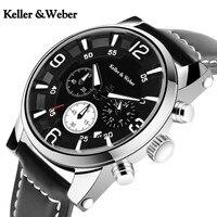 Keller & Weber Data de Exibição do Relógio De Pulso Homens de Quartzo Moderno Negócio Pulseira de Couro Genuíno Relógios 30 ATM Relógio de Moda À Prova D' Água