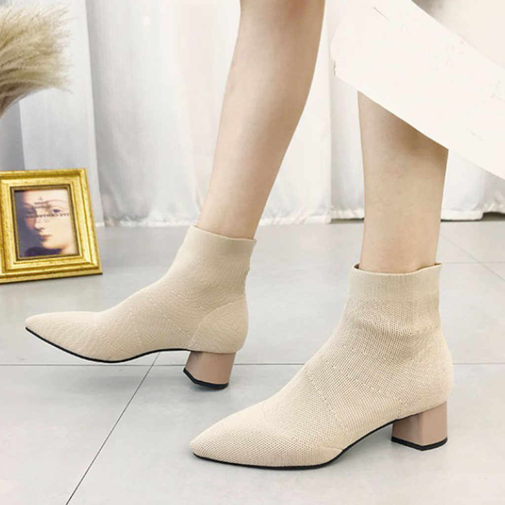 Women Ladies Fashion Pointed Toe Square Heel Knittined Boots Casual Shoes #XTN