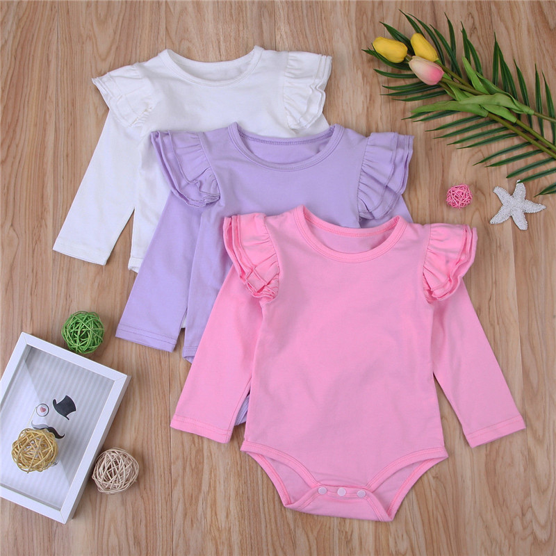 Newborn Kids Baby Girls Romper Infant Bodysuit Solid Long Sleeve Ruffles Outfits Jumpsuit Body Tops Baby Autumn Clothing W3