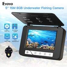 "Eyoyo 5 ""15 متر 1000TVL صياد السمك تحت الماء الجليد الصيد كاميرا 4 قطعة الأشعة تحت الحمراء 2 قطعة المصابيح البيضاء للرؤية الليلية كاميرا للصيد"