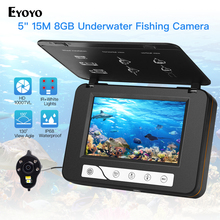 "Eyoyo 5"" 15M 1000TVL Fish Finder Underwater Ice Fishing Camera 4pcs Infrared+2pcs White Leds Night Vision Camera For Fishing"