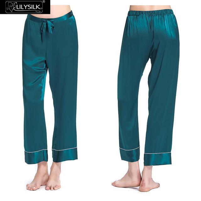 Sólido 22 Momme Lilysilk 100% Pantalones de Pijama de Las Mujeres de Seda Pura Elegante Recortada Pantalones de Seda Envío Gratis