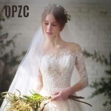 Новая мода, простые свадебные платья, кружевные, рукав три четверти, Круглый ворот, элегантные, плюс размер, Vestido De Noiva, для невесты Q