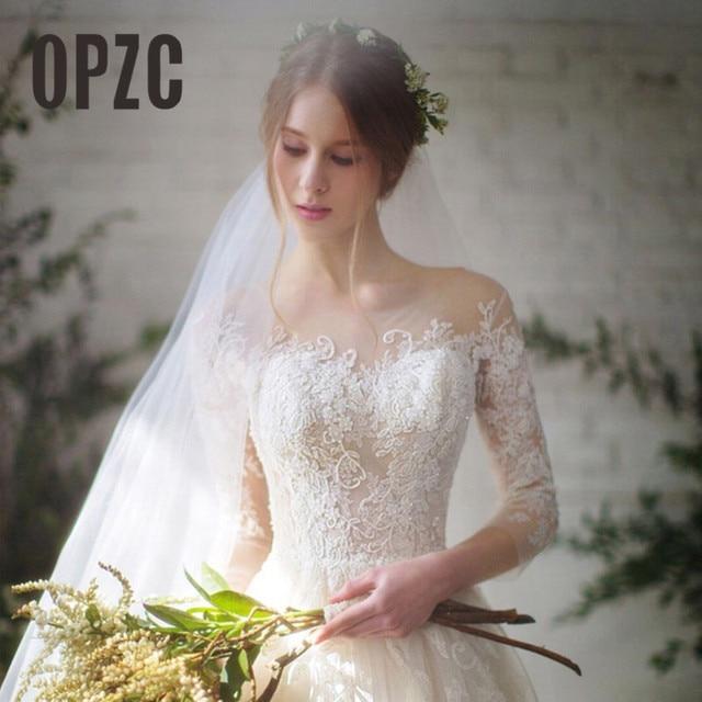 New Fashion Simple 2021 Wedding Dresses Lace Three Quarter Sleeve O-Neck Elegant Plus size Vestido De Noiva Korean Bride Gowns 1