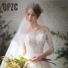 Новинка 2020, модные простые свадебные платья, кружевные Элегантные женские платья с рукавом три четверти и круглым вырезом, платье невесты в Корейском стиле