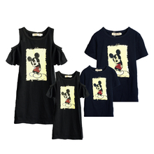 Matching Family Outfits Best Friend Tshirt Cartoon Mickey Printed Casual Dad Son T Shirt Look Mother Daughter Dresses