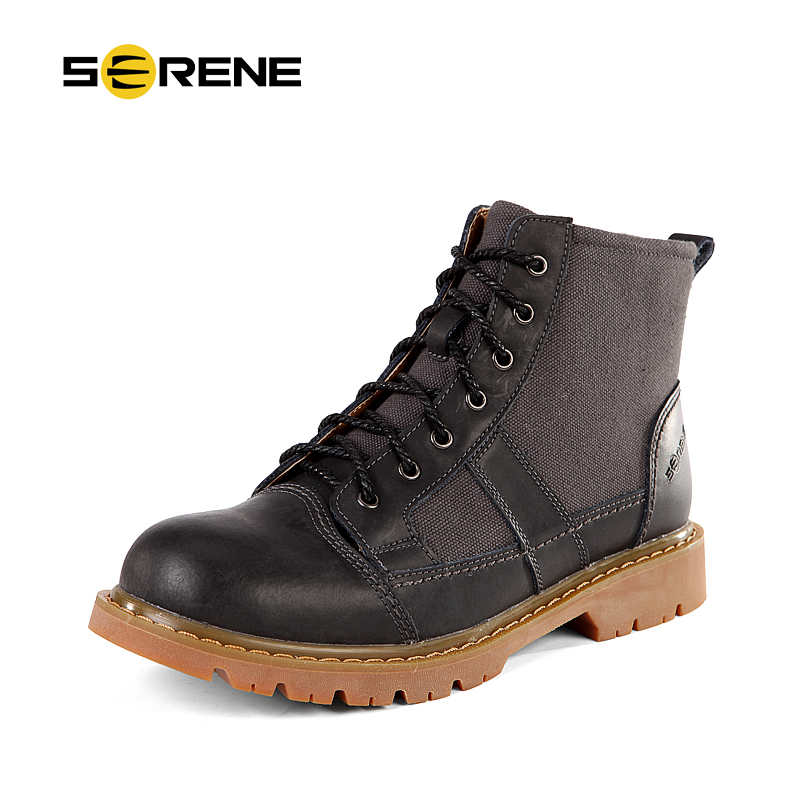 SERENE Brand 2017 Mens boots Casual Tooling Boots British Retro High-Top New Autumn & Winter Genuine Leisure Shoes 3250