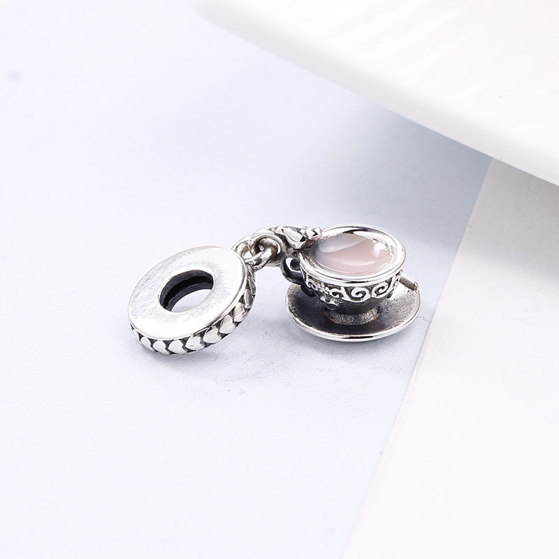 2018 100% 925 Sterling Silver Fit Original Pandora Bracelet Enchanted Tea Cup Pendant DIY Charms Beads for Jewelry Making Gift