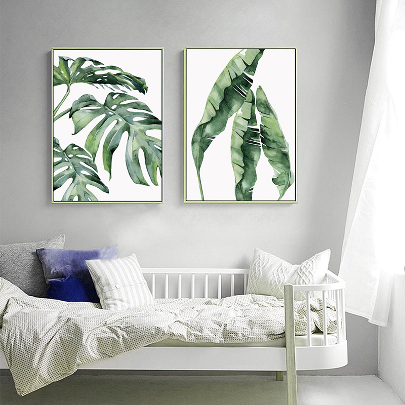 HTB10ZV2iBDH8KJjSszcq6zDTFXaC Watercolor Plant Green Leaves Canvas Painting Art Print Poster Picture Wall Modern Minimalist Bedroom Living Room Decoration