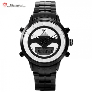 Requiem Shark Sport Watch White Outdoor Hiking Men Digital Date LCD Electronic Quartz Steel Band Watches Chronograph Clock/SH555