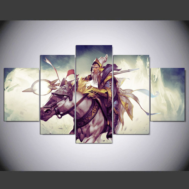 DAFENJINGMO ARTS 5 panel large poster HD printed horse riding canvas print art home decor wall art pictures for living room