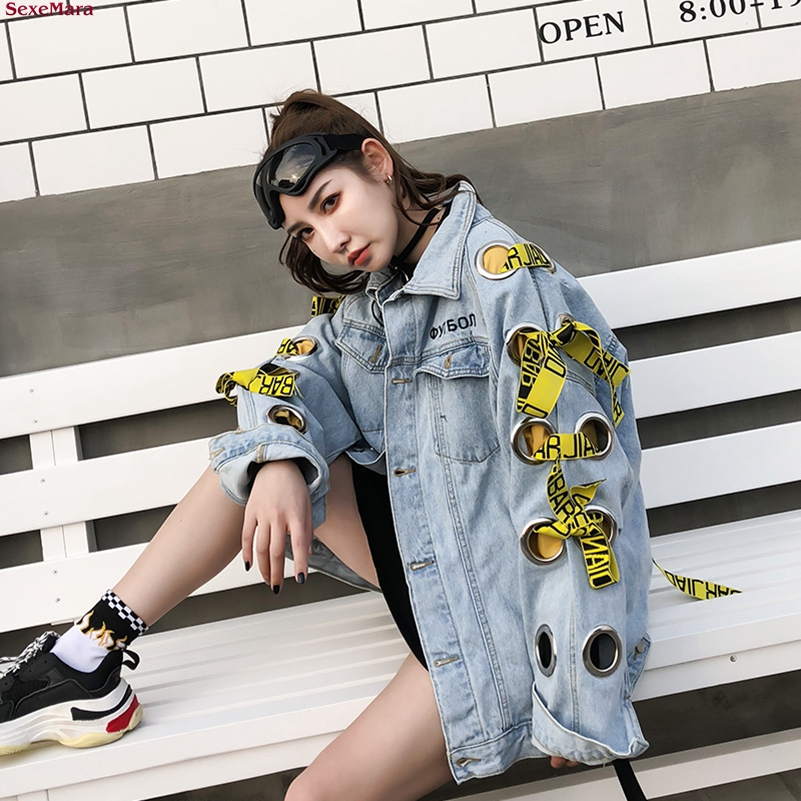 SexeMara fashion The New Loose letter Holes Webbing cowboy jacket Free shipping