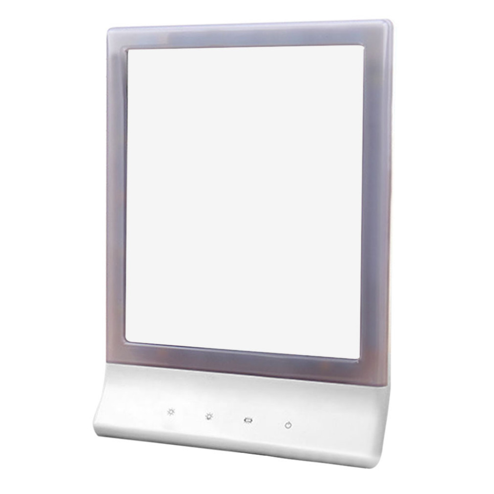ФОТО Portable Size 18 LEDs Desktop Women Makeup Mirror Adjustable Luminous Lady Facial Makeup Cosmetic Mirror With Magnifying Glass
