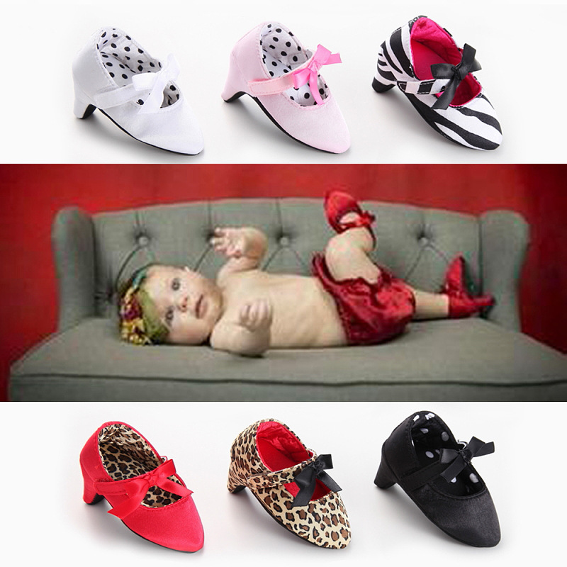 Princess Newborn Baby Girls Shoes Bow High Heel First Walker Soft Sole Crib Shoe