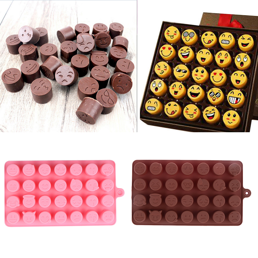 1pc 28-even Emoji Expression Smiling Face Shape Chocolate Cookies Ice Moulds Cake Decorating Tool Silicone Mold Supplies