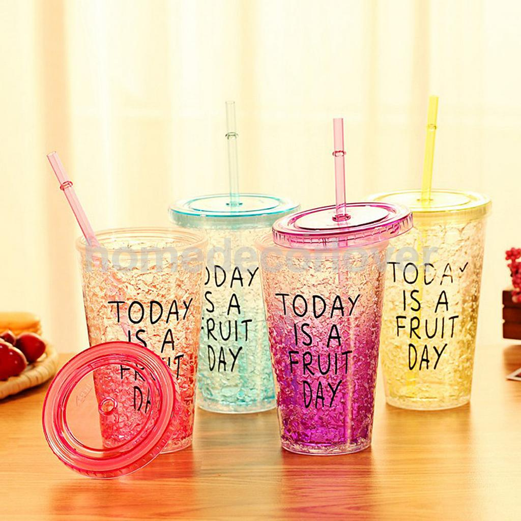 Hot Smoothie Plastic Drink Iced Coffee Juice With Straw Liquid Lid Bottle Glass Drinkware Creative Christmas Gifts Presents