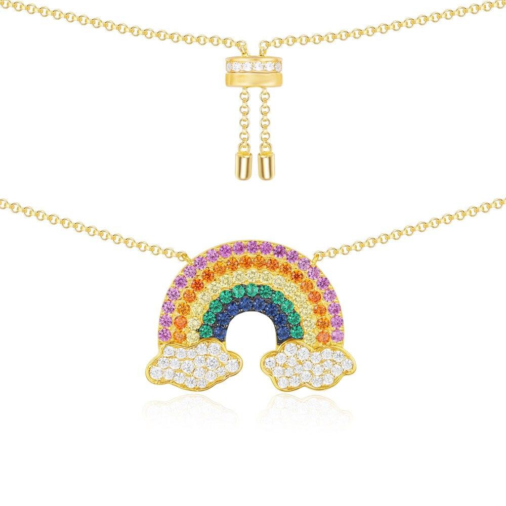 SLJELY Real 925 Sterling Silver Yellow Gold Color Rainbow Pendant Necklace Multicolor Zircon CZ Women Monaco
