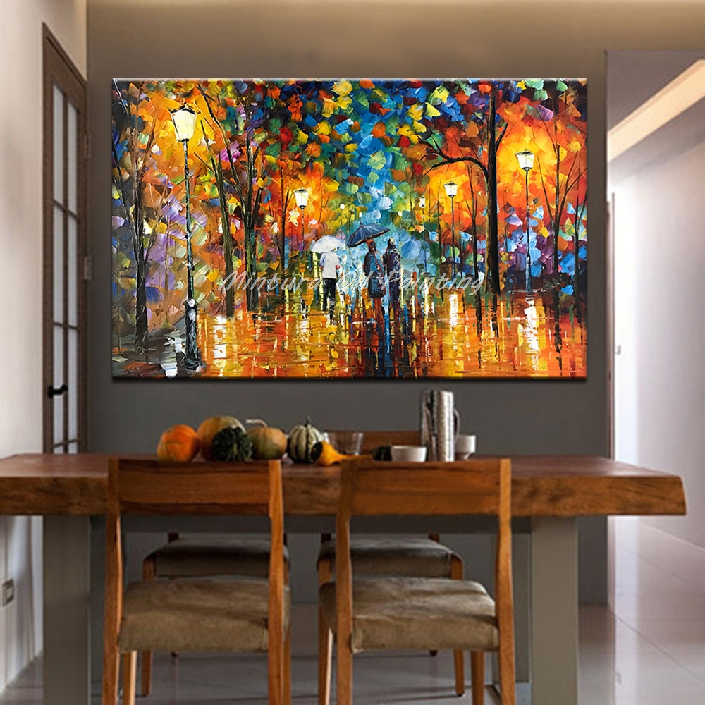 Большой расписанный вручную любовник дождь уличное дерево лампа пейзаж картина маслом на холсте настенные художественные настенные картины для гостиной домашний декор
