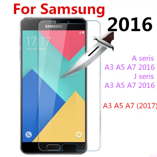 2017 Tempered Glass for Samsung Galaxy A3 A5 A7 2016 J1 J2 J3 J5 J7 J120F J320F J510F J710F Screen Protector Protective Film