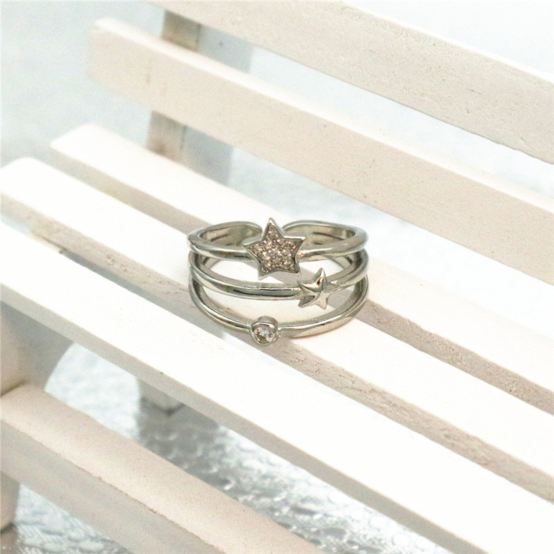 Wedding Crystal Silver Color Rings Multilayer Star Cubic Zircon Ring Fashion Women Promise Jewelry Size Opening Cheap