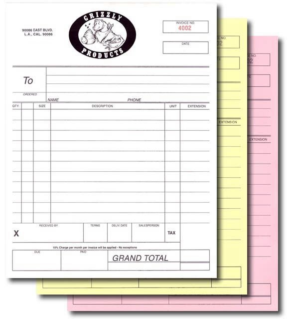 Customized Carbonless Forms Triplicate Invoice Book NCR Paper - Custom carbonless invoice forms