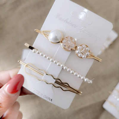 Women Barrettes Set Pearl Hair Clip Pins Oranment Gold Bobby Pin Hair Accessories Mujer Headwear Wedding for Girl Gift