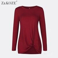 Z KOZE Women Knot Front T Shirt Casual Tops Long Sleeve O Neck T Shirt Fashion