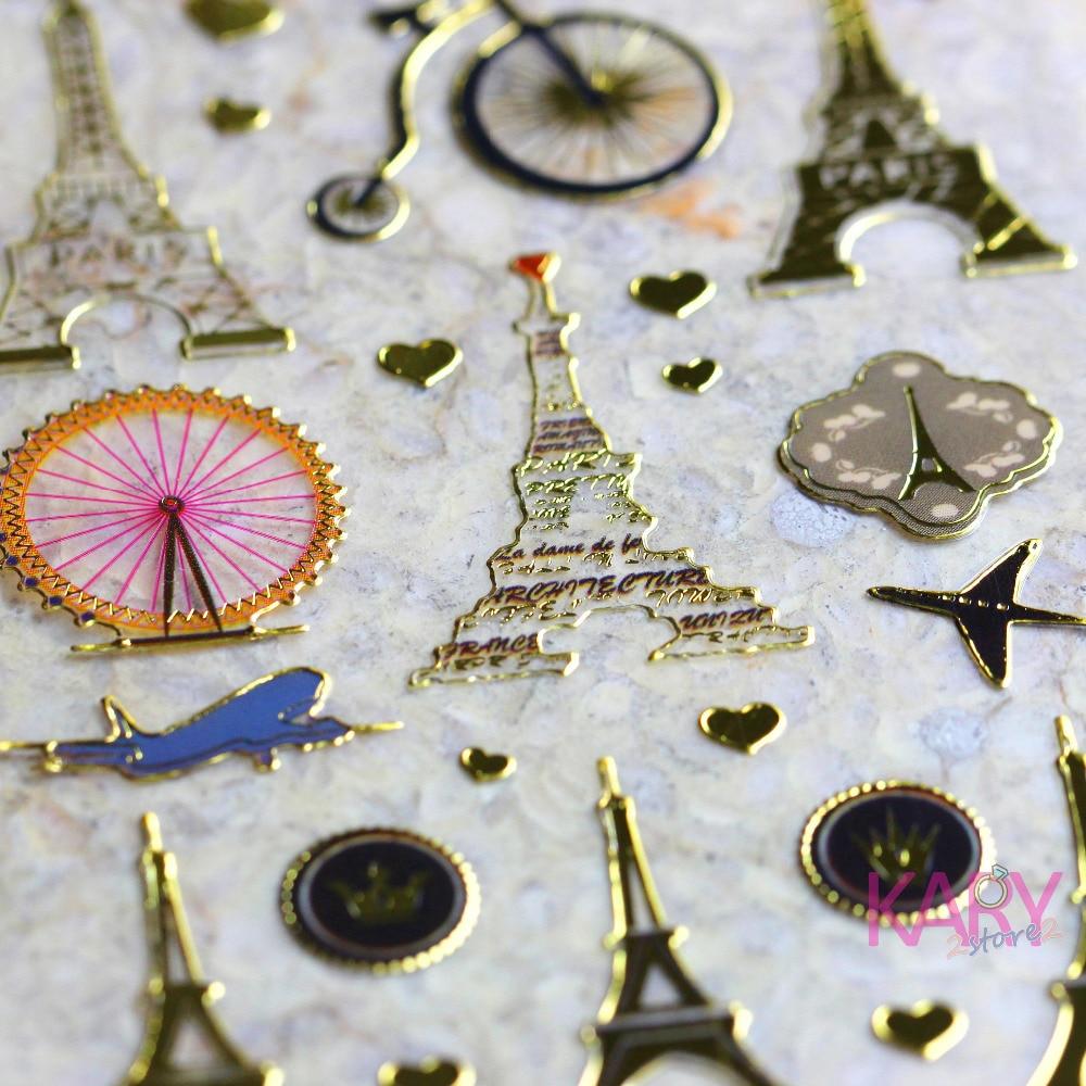 Mini Travel Paris Tower Inn Ferris Wheel Retro Scrapbooking Reward Kids Children Shiny Gilded Paper Foil Stickers Fashion Craft