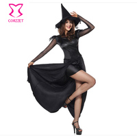 Gothic Black Magic Sorceress Medieval Long Dress Cosplay Sexy Adult Witch Costume Deguisement Halloween Costumes With