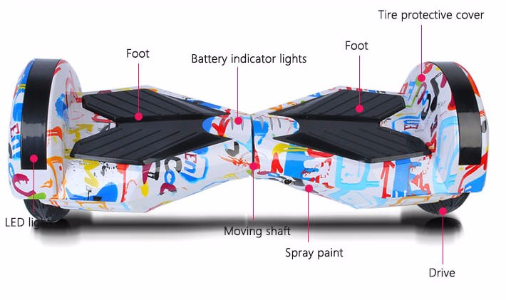 Self balancing Hoverboard or two wheels skateboards with Bluetooth and LED light for Adults 10