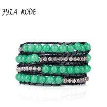 купить Exquisite Natural Stones 4 Layered Green Aventurine Wrap Bracelet Antique Weaving Bracelet Couples Bracelet Dropshipping Jewelry по цене 323.39 рублей
