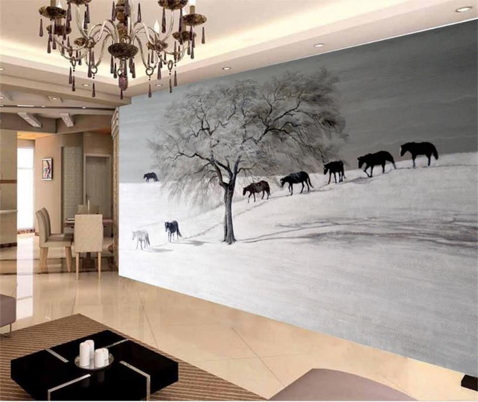 custom 3d wallpaper photo wallpaper living room mural snow horses and wolf 3d painting sofa TV background wall non-woven sticker free shipping european tv background wall painting non woven wallpaper living room wallpaper modern rose wallpaper mural