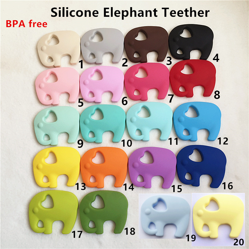 5PCS BPA Free Safe and Natual Silicone Elephant Teether Baby Chupete Dummy Dentición Masticable Colgante Collar de enfermería Joyería