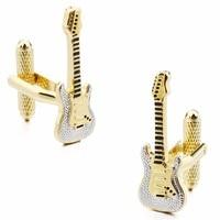 HAWSON Gitar Kol Düğmeleri Lüks Altın Müzik Aracı Kol Düğmeleri Düğmesi için Mens Takı