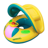 Inflatable Toddler Baby Swim Ring Float Seat Swimming Pool Water Seat with Anti UV Canopy swimming pool accessories piscina