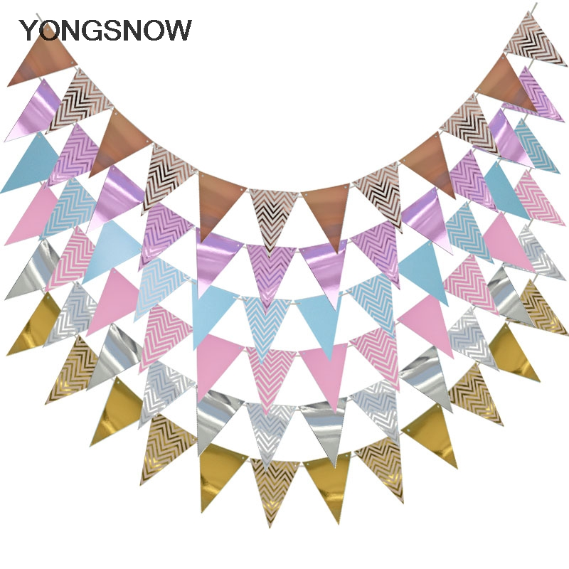 1set Paper Garland Happy Birthday Banners Hanging Bunting Wedding Decoration Photo Props String Flags Baby Shower Party Supplies