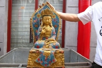 Large Tibet Bronze Copper cloisonne Bodhisattva Kwan Yin Guan Yin Buddha Statue