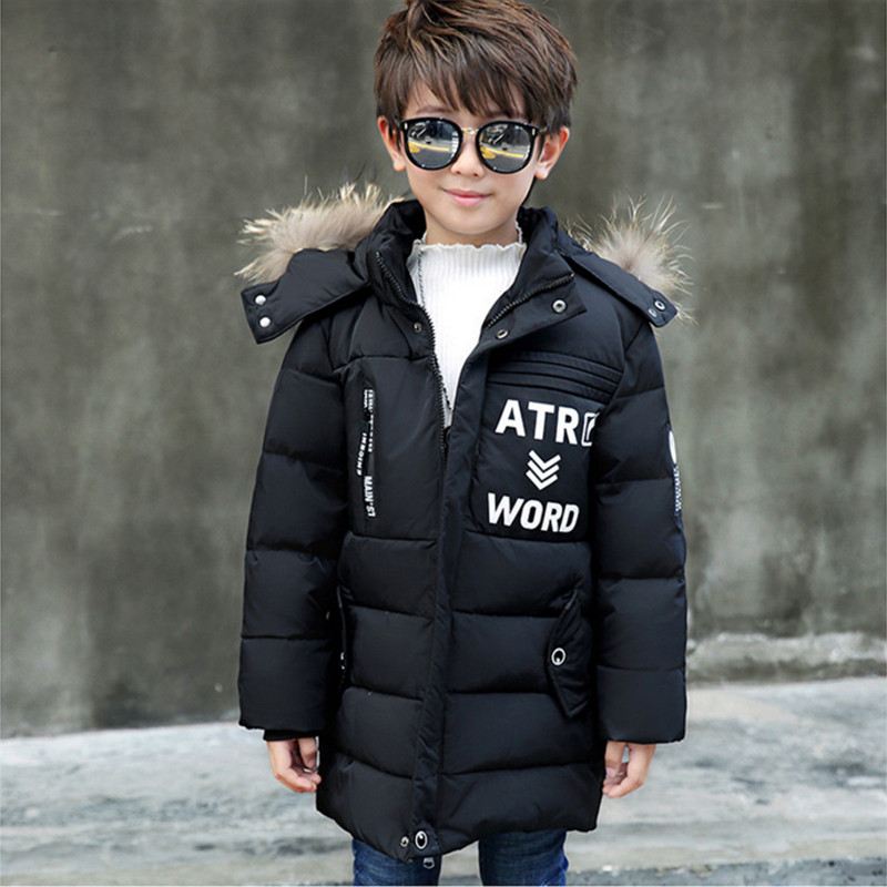 Children's Long Down Jackets Boys Winter Coat 2017 New Fashion Thick Letters Hooded Casual Outerwear 110-140 Hihg Quality 2017 new winter fashion women down jacket hooded thick super warm medium long female coat long sleeve slim big yards parkas nz18