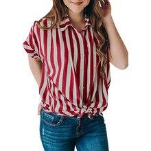 62453ac62 2019 poleras de mujer moda Women's Casual Short Sleeve Striped Tie T-Shirt  Blaouse Tops