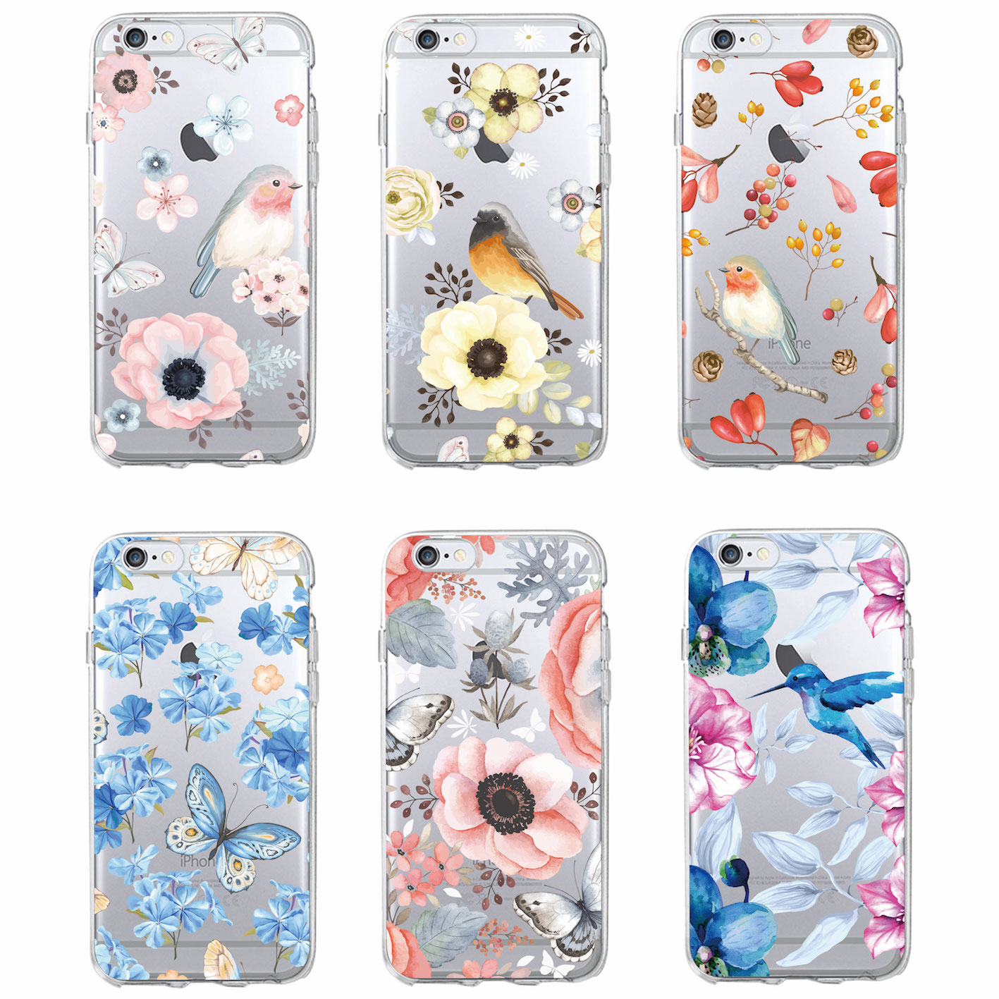 buy online c6627 9586f Cute Bird Butterfly Floral Flower Soft Clear Phone Case For Samsung Galaxy  J5 A5 A8 S7 Edge S8 S9 Plus Iphone 6 6S 7 8 Plus X XS Max