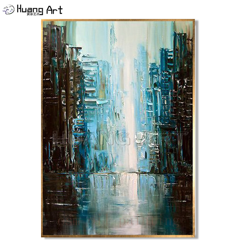 Handmade Modern Fine Art Abstract City Painting Palette Knife Art Oil Painting Hand Painted Landscape Wall Decorative Picture