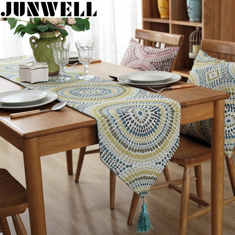 Junwell Mode Modern Table Runner Colorful Nylon Jacquard Runner Taplak meja Dengan Jumbai Cutwork Bordir Table Runner