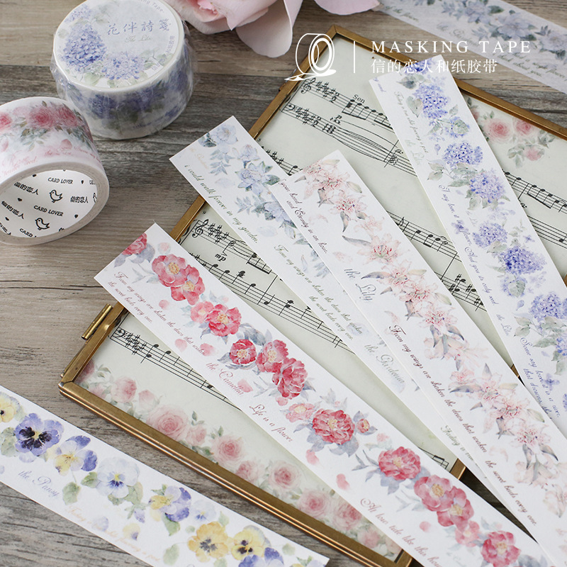 1 Pcs Washi Tapes DIY Japanese Paper Flower With Poetry Masking Tape Decorative Adhesive Tapes Scrapbooking Stickers