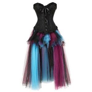 Image 2 - Sapubonva Gợi Cảm Phong Cách Khoa Học Viễn Tưởng Váy Nịt và Áo Ngực Top Ren Dạ Hội Nữ Plus Kích Thước Đẩy Lên Gothic Áo Đầm Halloween